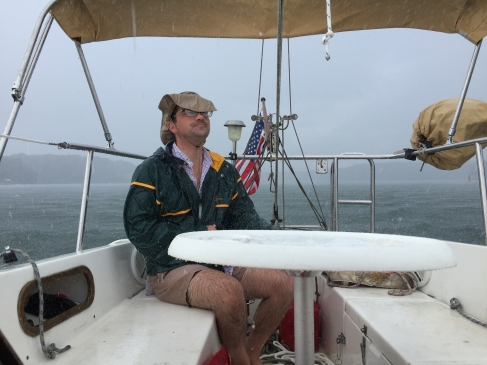 Catalina 25 Cockpit Table In Foul Weather